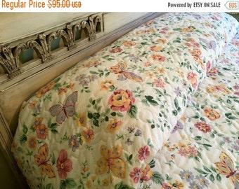BIG SALE - Vintage Queen Quilted Bedspread - Cannon - Butterflies and Flowers - Queen Bedspread - Springtime