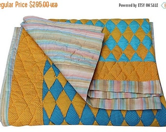 BIG SALE - Colorful Vintage Quilt - Yellow and Blue Blanket - Diamond Pattern - Unused - Full