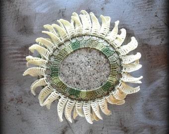 Floral Table Decor, Crochet Stone, Sunflower, Home Decor, Handmade, Original, Nature, Garden, Decorative Arts