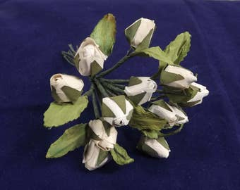 Small Cabbage Rose Buds White Paper Weddings Corsages Dolls Fascinator Flower Crowns 12 Individual Stems With Leaves