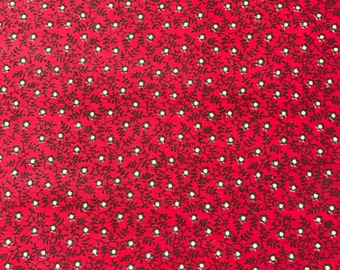 Vintage Quilt Fabric Calico Quilting Cotton Turkey Red Print - 3 yards