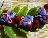 lampwork beads/sra lampwork/beads/glass beads/ blue/red/flowers/