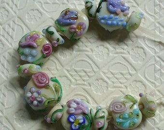 SRA Lampwork Glass Beads Handmade by Catalinaglass Flower Power
