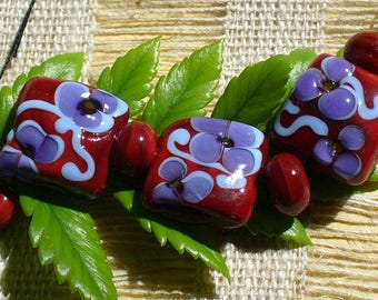 lampwork beads/sra lampwork/beads/glass beads/ blue/red/flowers/