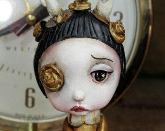 Pop Surrealism Artist Toy Collectible Sculpture Art Gold Candle Girl Kawaii