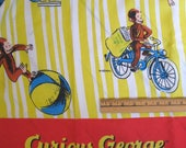 Curious George sheet -- full flat, cotton blend, vintage -- monkey, kid lit, yellow, stripes -- bedding or craft supply fabric