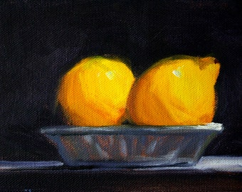Lemon Still Life, Oil Painting, Original 5x7, Canvas, Kitchen Wall Decor, Tropical Fruit, Citrus Yellow, Bowl, Dark Background, Small