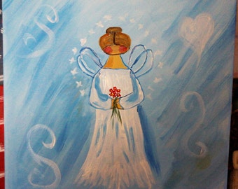 "12"" x 12"" Heavenly Angel Acryic Painting"