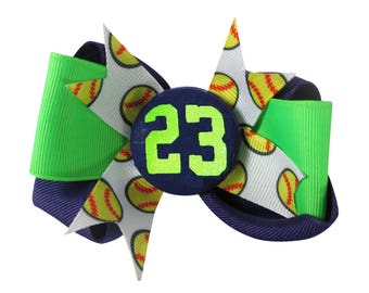 Softball Number Hair Bow, Glitter Neon Green/ Purple/ choose colors & player number- Personalized, Softball Bow/ Baseball