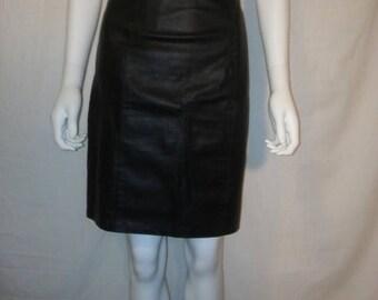Closing Shop Sale 45% Off Black leather knee length skirt, High Waist Leather Skirt 80s 90s