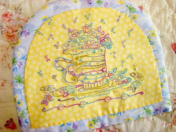 Tea Cup Rose Hand Embroidery PDF Pattern Instant Digital Download