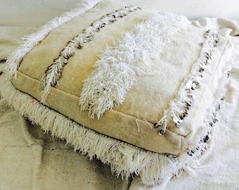 Vintage Moroccan Wedding Blanket Pouf/Floor Pillow. Handira. Wool and Cotton.
