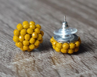 Mustard Stud Earrings - Yellow Stud Earrings - Mustard Posts - Yellow posts cluster earrings
