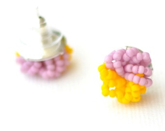 Purple Yellow stud earrings - colorblock jewelry - beaded stud earrings cluster earrings