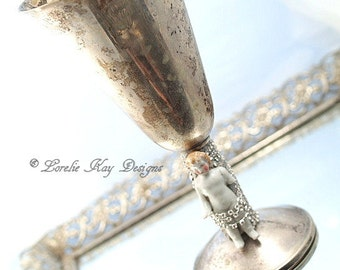 Frozen Charlotte Champagne Wine Glass or Vase Vintage Silver Plate Frozen Charlotte China Doll Cup Lorelie Kay Designs Original