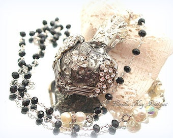 Soldered Rhinestone Milagros Necklace Sacred Heart Pendant Assemblage Necklace Lorelie Kay Designs