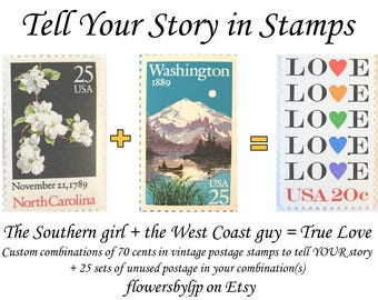 Custom Order, Tell Your Story in Stamps, Vintage Postage Stamp Combination Design Options + 25 sets of 70 cents postage, mail 2 oz envelopes