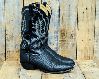 Mens Cowboy Boots, Us 10.5 10 1/2, Uk 10, Eu 44, Black Cowboy Boots, Leather Cowboy Boots, Tony Lama Boots, Man Boots 10, USA made,