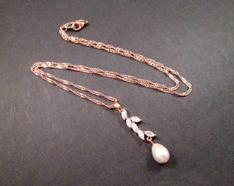 Cubic Zirconia Necklace, Leaf Vine and Pearl Necklace, Rose Gold Chain Necklace, FREE Shipping U.S.
