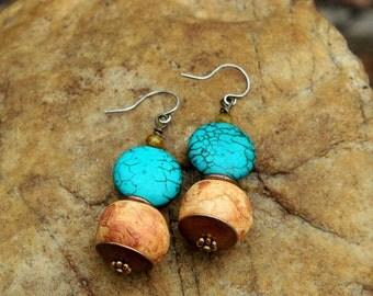 Turquoise Magnesite Boho Dangle Earrings