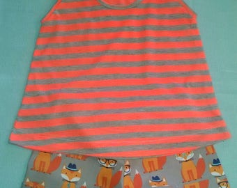 Fox shorts with stripe jersey top soft cotton orange and gray. Size 12 mo to 6-6X