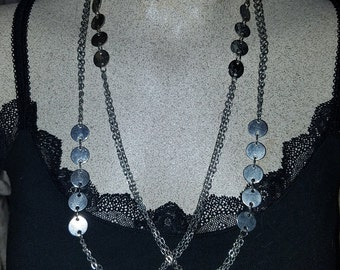 20% OFF Vintage 1960's MOD Silver Circles Disks Layering Necklace. 52 Inches around