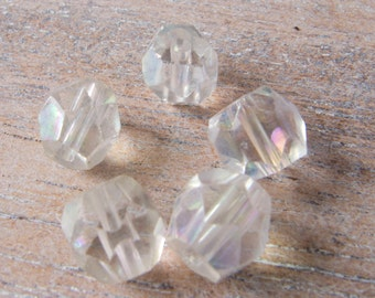 Vintage Antique Japan 1930s Cherry Brand Hand Cut Multi Faceted Iridescent Crystal Glass Beads - 9mm - Lot of 5
