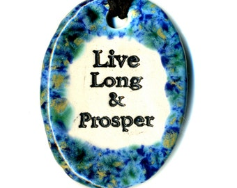 Live Long and Prosper Ceramic Necklace in Speckled Blue