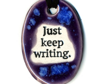 Just Keep Writing Ceramic Necklace in Purple and Blue
