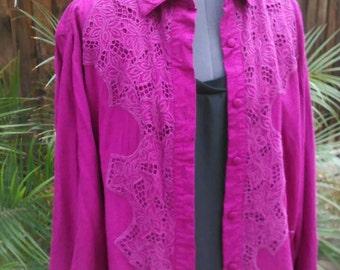 Vintage 70s 80s magenta cutout lace detail blouse