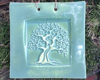 Tree of Life Tile in Sage Green