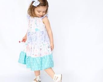 Girls Sea Life Twirl Dress -  Girls Dress - Girls Summer Dress - Girls Sundress -  Girls Beach Dress - Girls Beach Outfit - Girls Mermaid