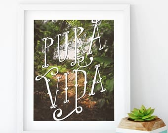 Pura Vida Costa Rica Jungle Inspired Giclee Art Print, lush art, green print, nature print, pure life, caribbean, friend gift, tropical art
