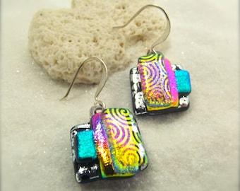 Dichroic glass earrings, rainbow glass jewelry, wedding gift ideas, hana sakura designs, fused glass beads, dichroic beads, creative jewelry