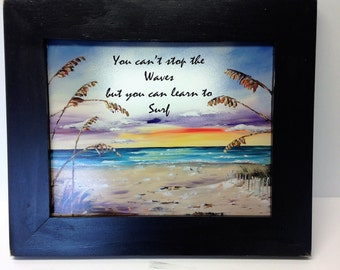 You can't stop the waves but you can learn to surf sign beach art inspirational quote coastal wall hanging  tropical decor