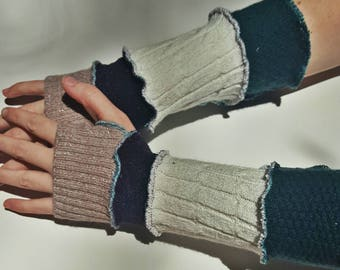 patchwork recycled sweater arm warmers - purple, cream, green