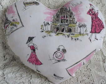 Upcycled popcorn chenille heart pillow, cottage chic decor, heart accent pillow, pink black paris valentine, porch pillow, bed accent