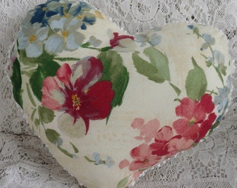 Upcycled popcorn chenille heart pillow, cottage chic decor, heart accent pillow, pink blue floral porch pillow, bed accent