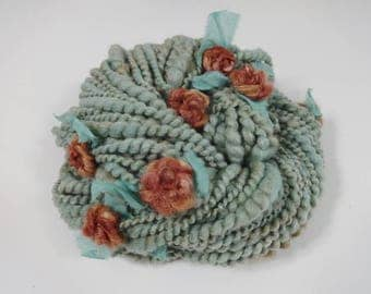 Handspun Art Yarn Rusty Roses with Felted Flowers 54 yards green aqua tan rust