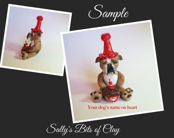 Brindle English Bulldog BIRTHDAY dog - NAME on heart - OOAK Clay Cake Topper art by Sally's Bits of Clay Original Sculpture