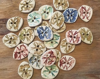 FREE SHIPPING Set of 25 Handmade Ceramic Buttons - Butterflies