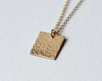Gold Pendant Necklace, Gold Square Necklace, Modern Minimal Jewelry, Layering Necklace, Hammered Gold Pendant, Geometric Jewelry
