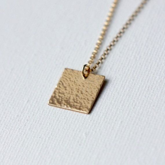 gold pendant necklace gold square necklace modern minimal