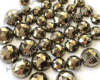Gemstone Cabochon Pyrite 5mm Rose Cut FOR TWO