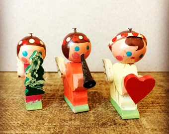 1950s Angels - Christmas Decorations - Made In Japan -  Set of 3