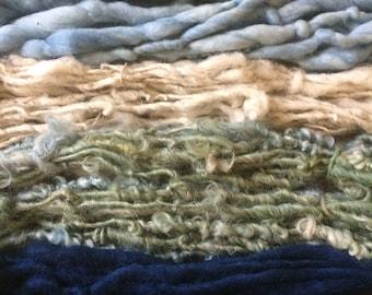 Four mini skeins, Indigo blue, handspun miniskein texture pack yarn, 40 yards, art yarn set, weaving yarn set, textured yarn, funky yarn