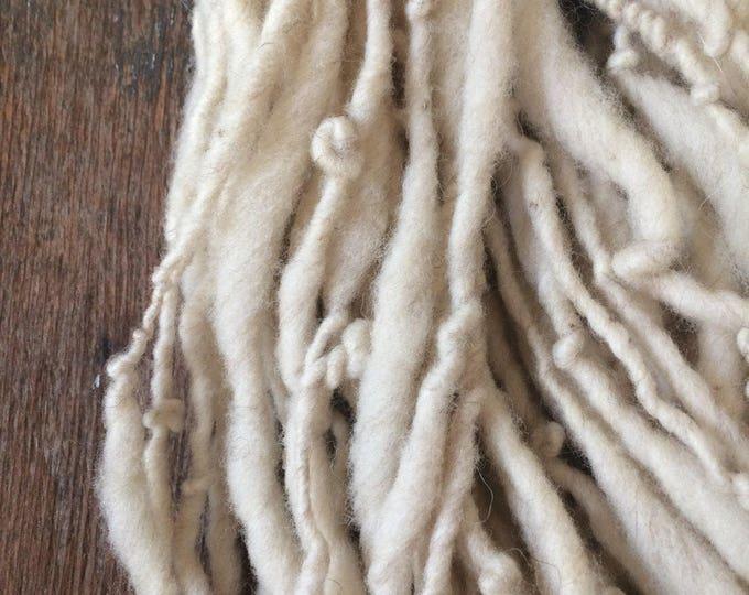 Creamy white handspun yarn, 68 yards chunky white yarn, rustic handspun yarn, undyed art yarn, farm fresh white yarn, eco friendly yarn