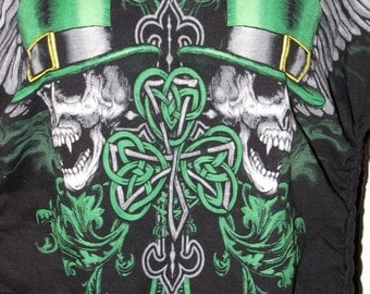 Clearance items 70% off - black and green shamrock skull cut couture sliced up t shirt