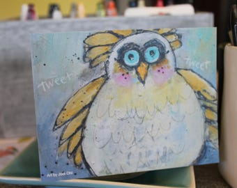 Tweet Tweet  whimsical funky bird note card in yellow, blue white, pink, and yellow    by Jodi ohl