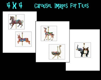 4 x 4 Carousel Animals, 3 collage sheets   INSTANT  Digital Download at Checkout, carousel,circus,carnival, 4 x 4 tiles carousel horses